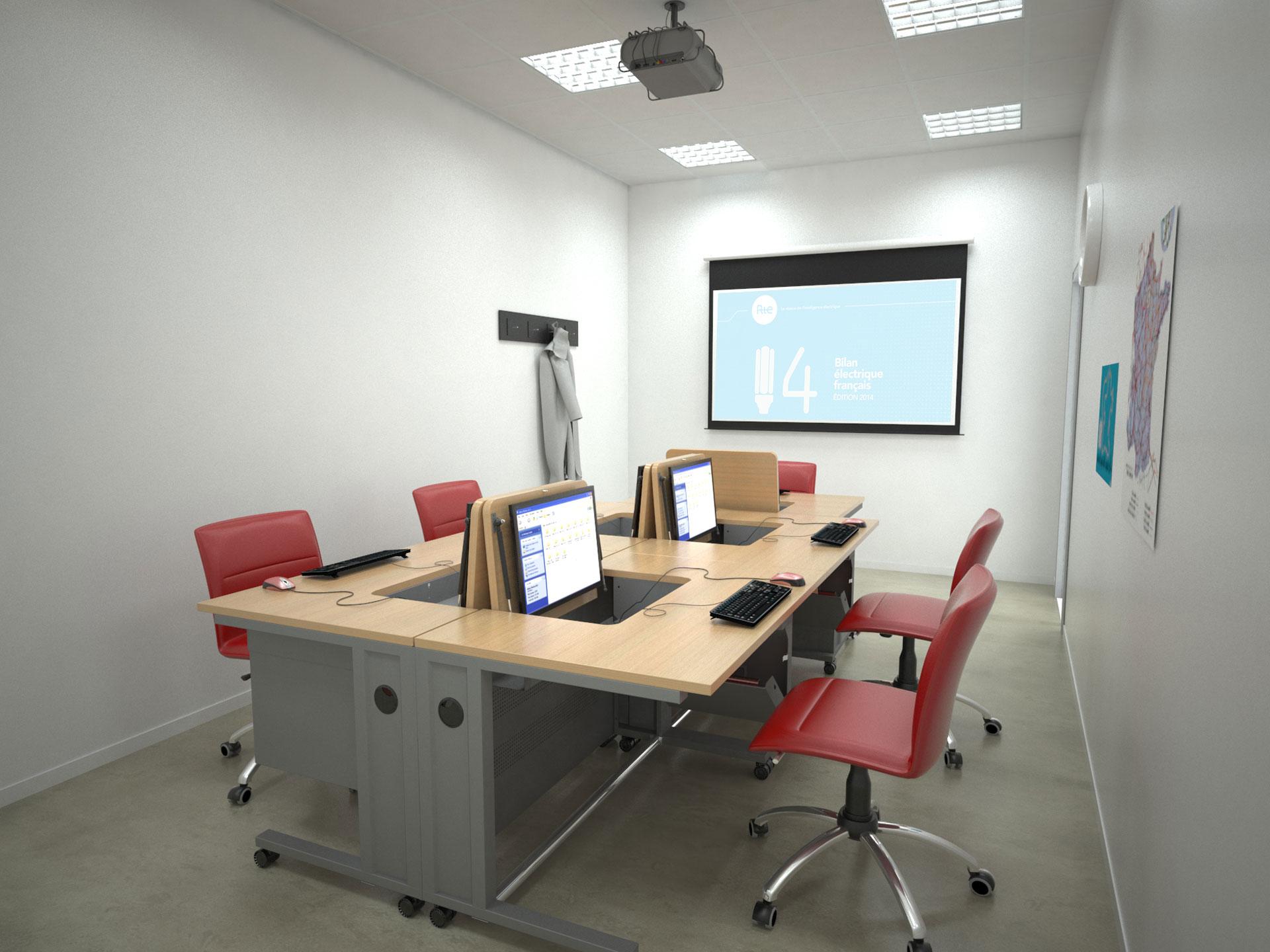 Aménagement d'une salle de formation avec des postes en îlots