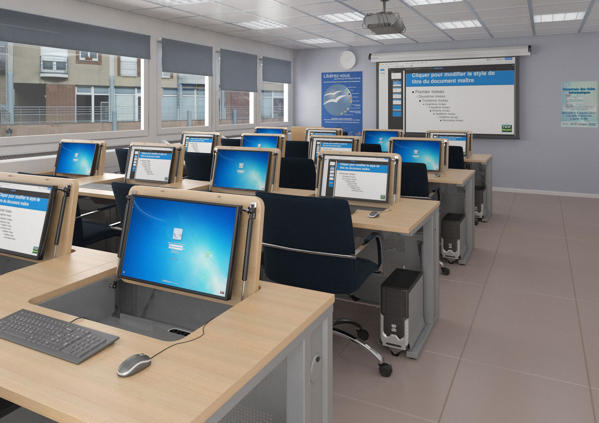 Mobilier pour salle de formation en salle de classe