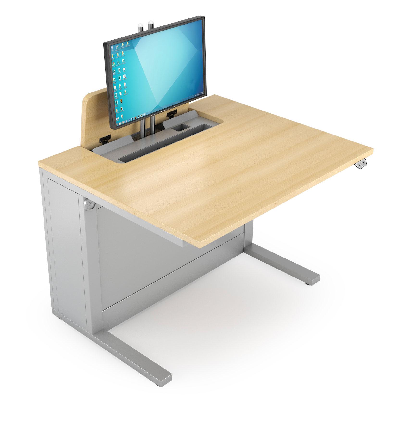 Mobilier de formation avec écran escamotable électriquement