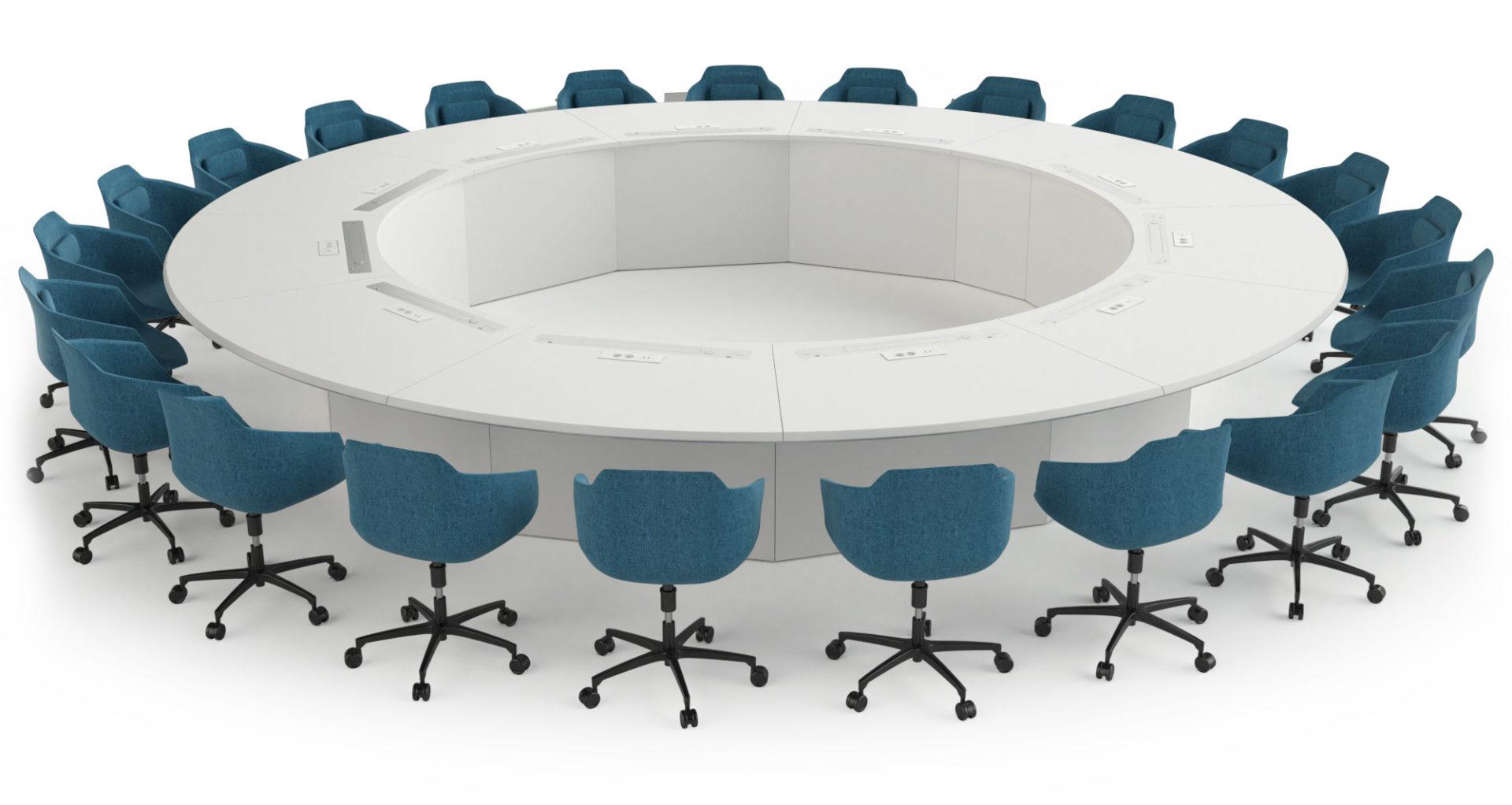 Table de réunion ronde avec écrans rétractés et connectique intégrée