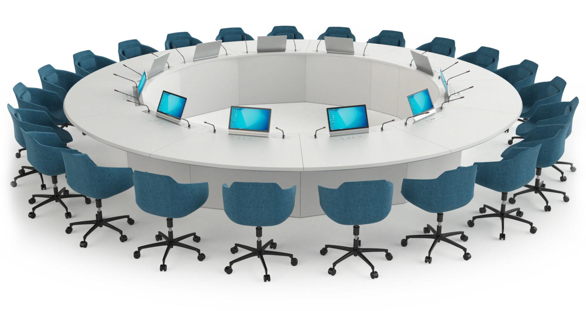 Table de réunion ronde, avec écrans rétractables et connectique intégrée