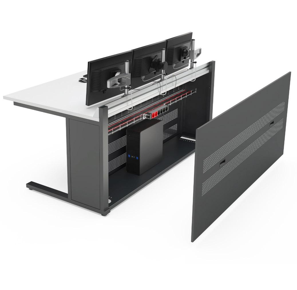 Mobilier pour salle de contrôle avec caisson technique intégré