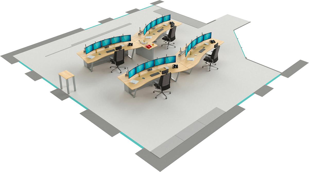 Mobilier pour salles de contrôle : Aménagement d'une salle de contrôle avec les consoles EGIC'DESK S1