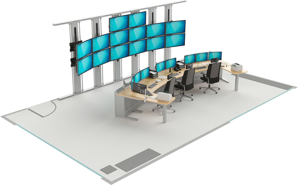 Mobilier pour salles de contrôle : Salle de supervision avec les pupitres EGIC'DESK S.1