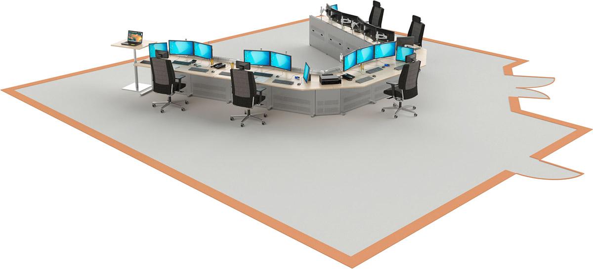 Mobilier pour salles de contrôle : Salle de pilotage aménagée avec les consoles opérateurs EGIC'DESK Série 1