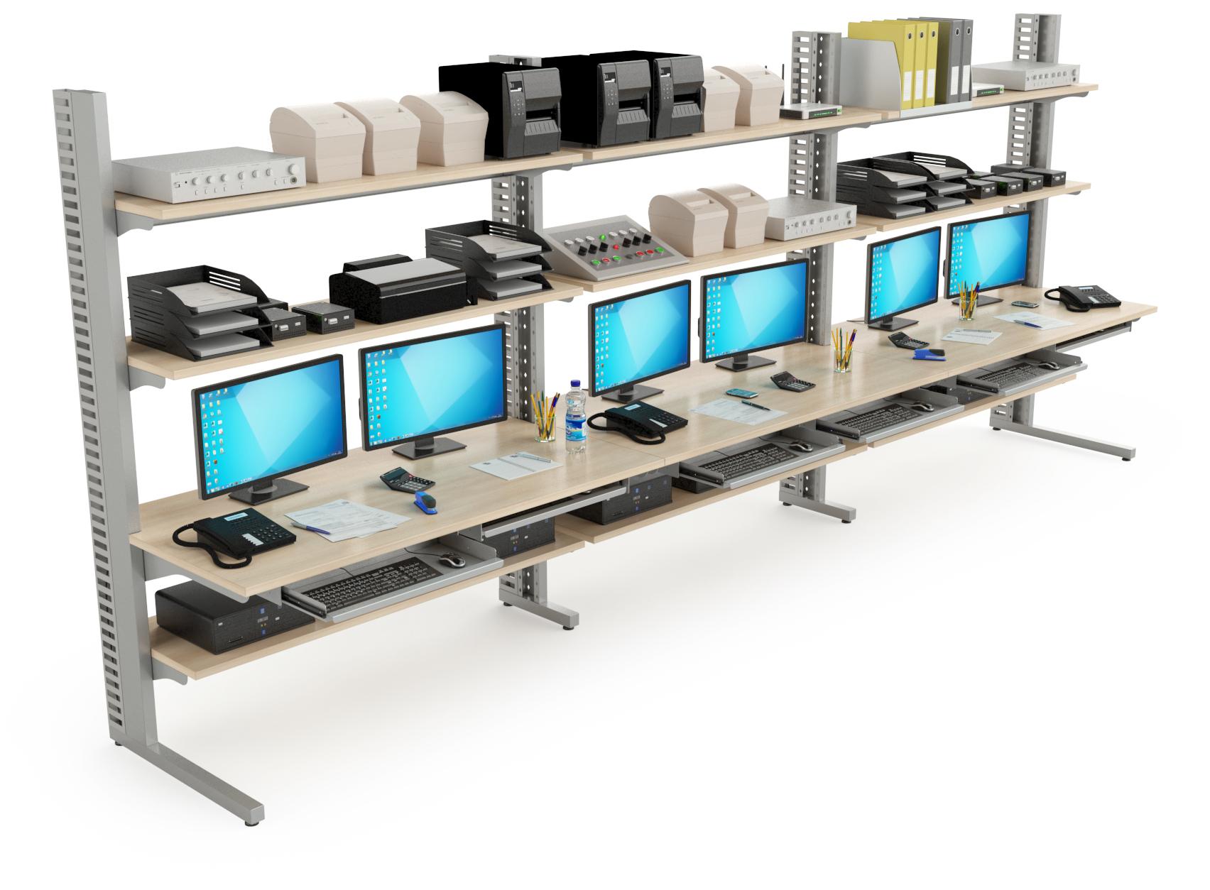 Mobilier technique : Stations informatiques mises en série