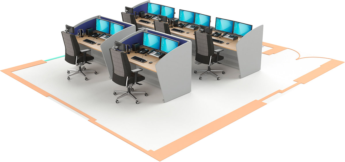 Mobilier pour salles de contrôle : Consoles avec finitions latérales