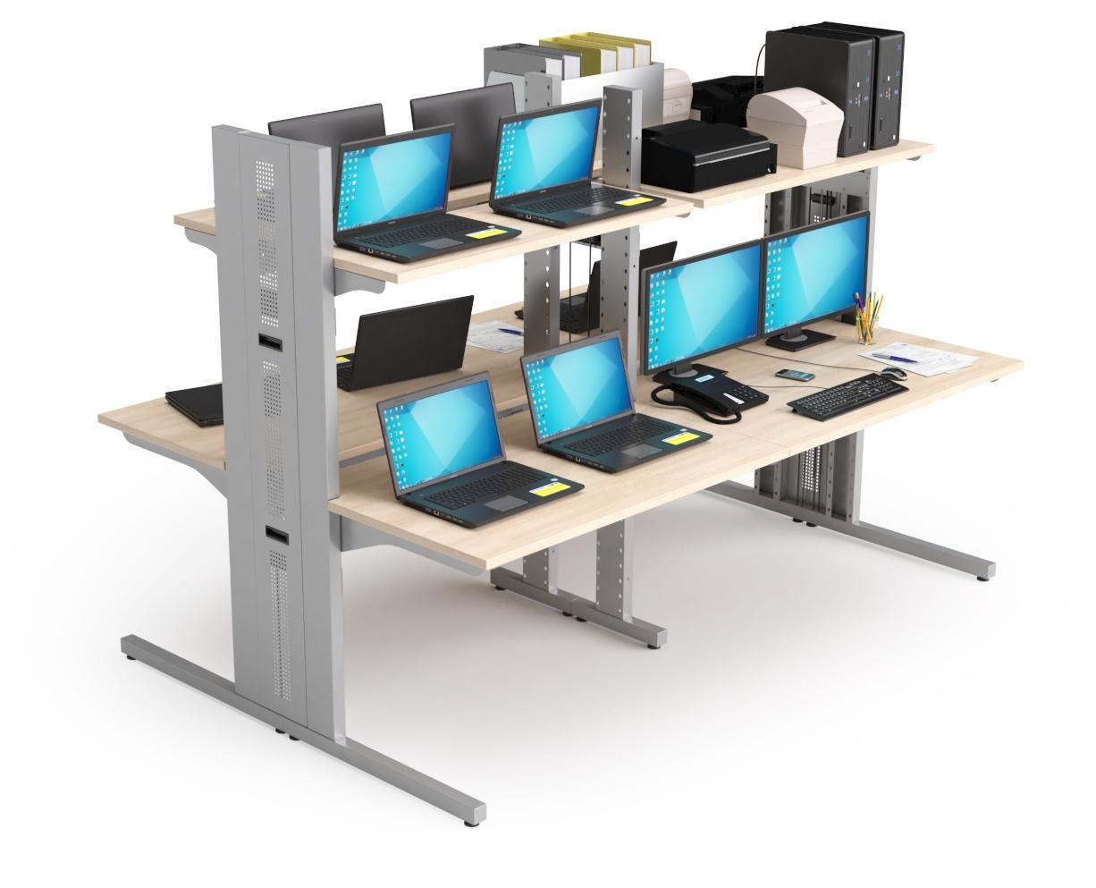 Mobilier pour salles techniques : Illot composé de 4 stations informatiques 2 niveaux