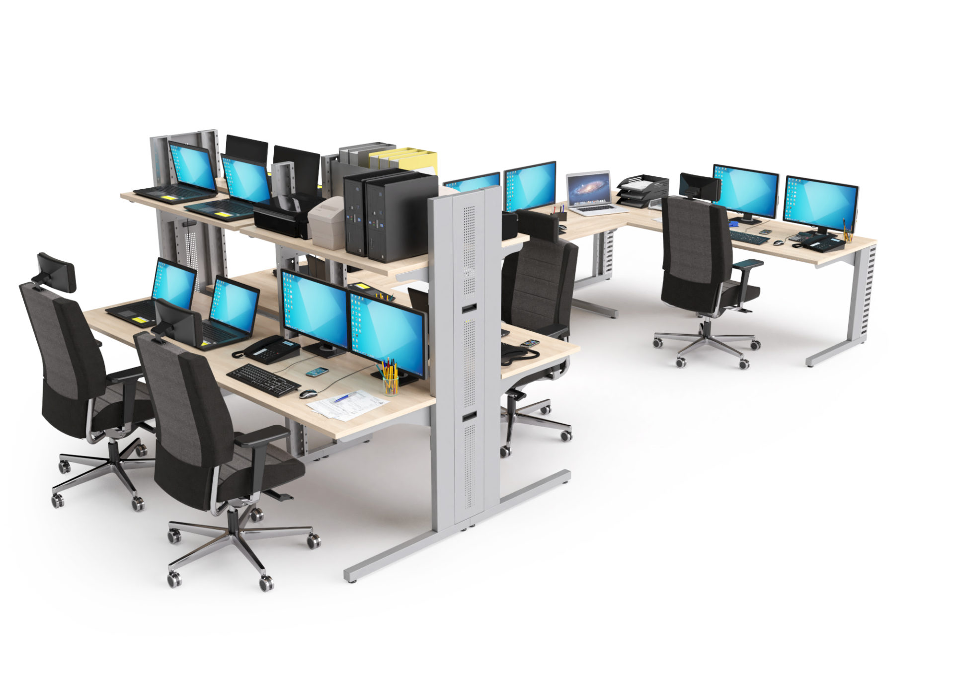 Stations LAN implantées en bench avec postes de travail