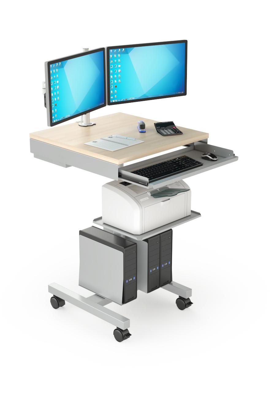 Chariot technique avec double écran, imprimante et UCs