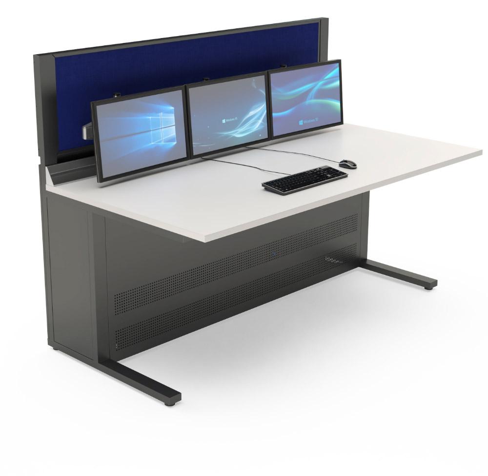 Mobilier pour salles de contrôle : Console opérateur équipée d'une cloison acoustique