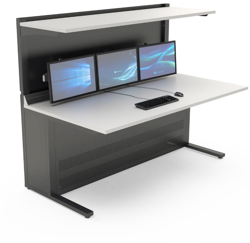 Mobilier de contrôle : Pupitre de contrôle avec étagère supérieure