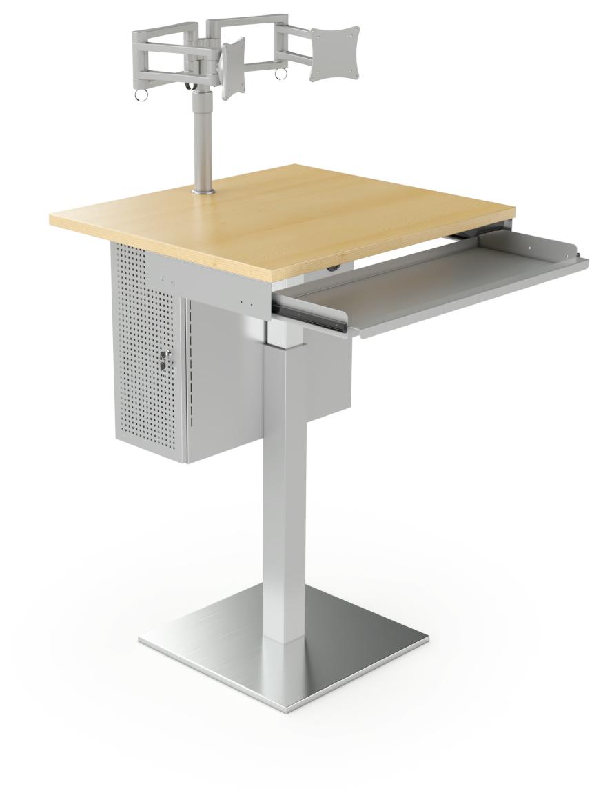 Desserte informatique avec bras double écran, support clavier et caisson UC