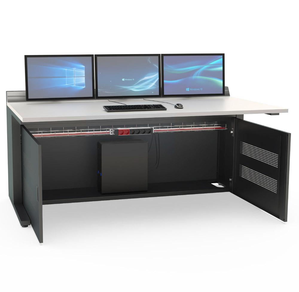 Mobilier pour salles de contrôle : Pupitre informatique avec option portes avant