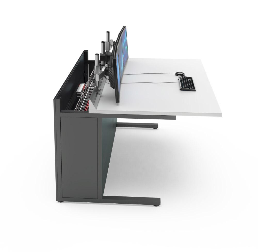 Mobilier pour salles de contrôle : Pupitre informatique avec plateau coulissant
