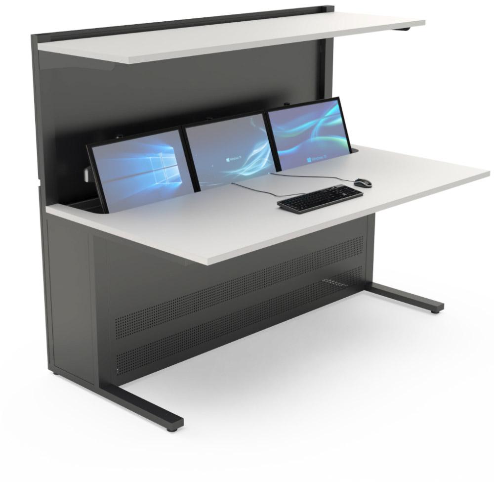 mobilier pour salles de contrôle avec tablette supérieure