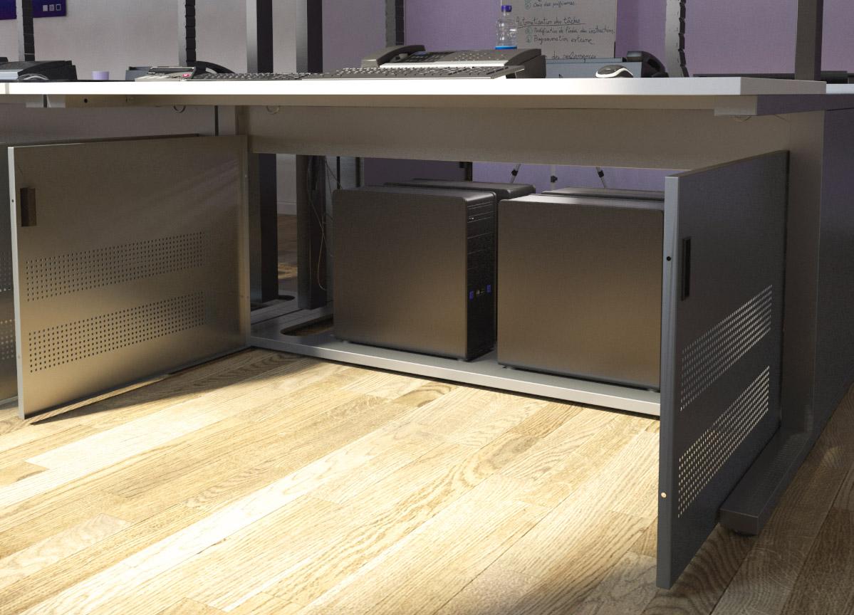 Mobilier pour salles de marchés équipé d'un espace technique