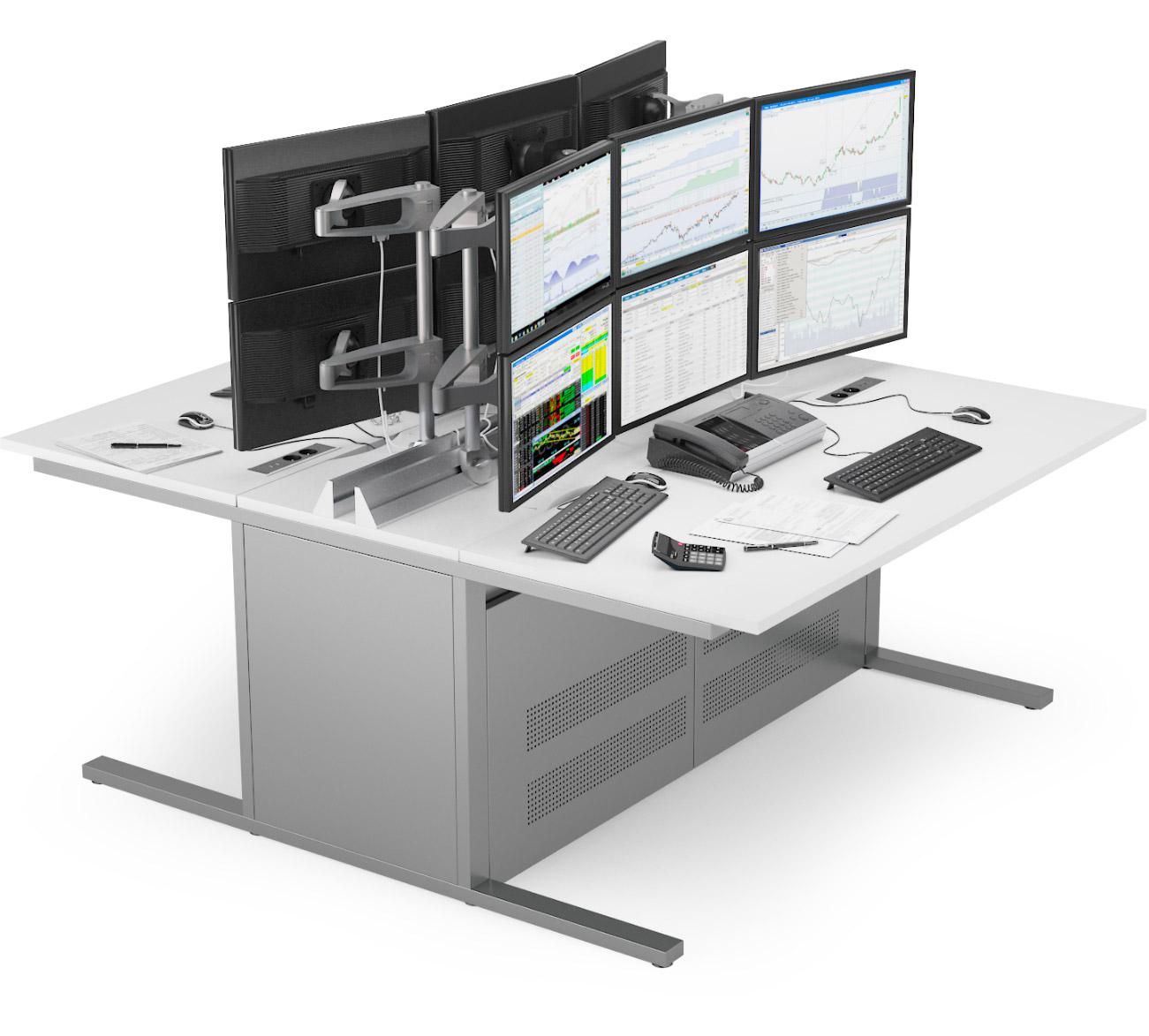 Pupitre informatique bench du mobilier pour salles de marchés EGIC'DESK S.2