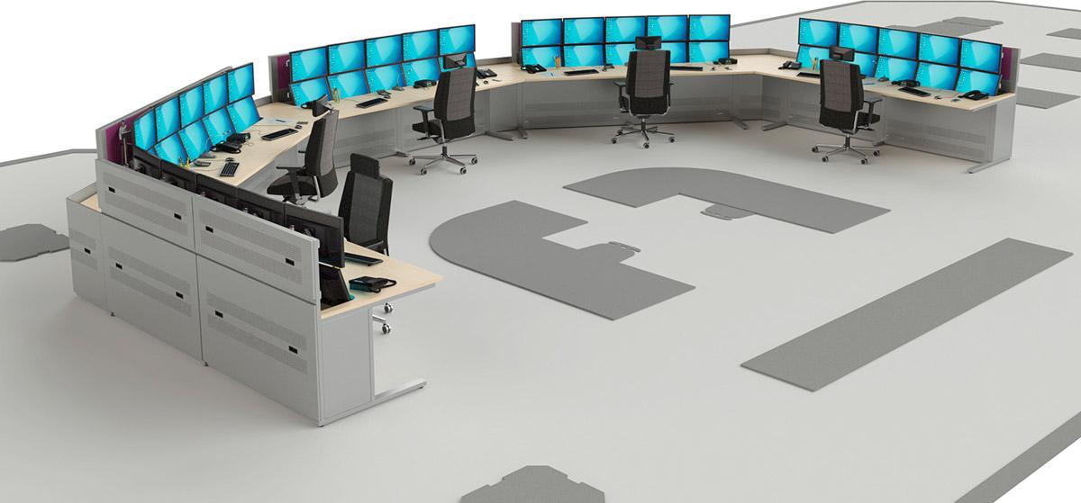 Aménagement d'une salle de supervision avec postes à plateaux décaissés