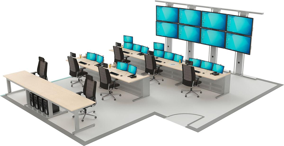 Salles de supervision avec grand écran
