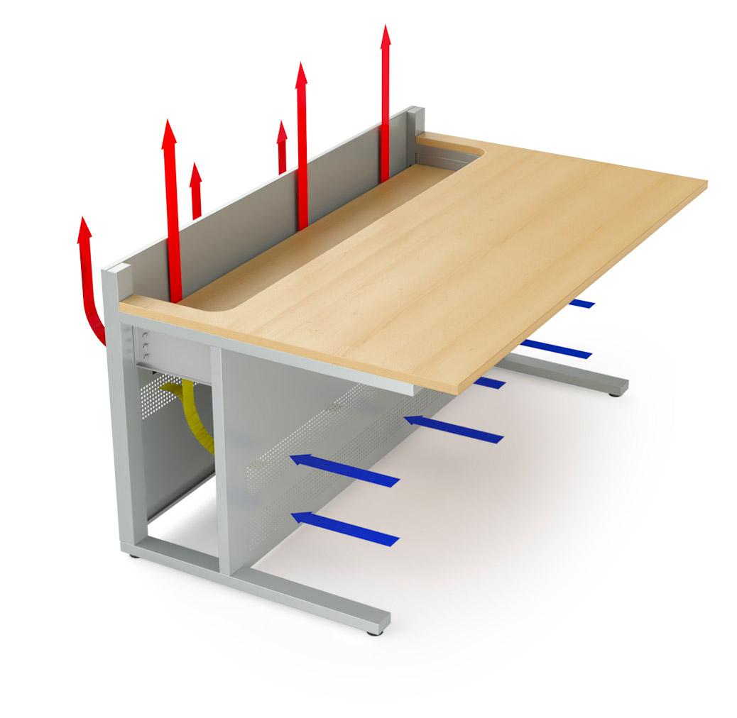 Mobilier pour salles de supervision avec ventilation intégrée