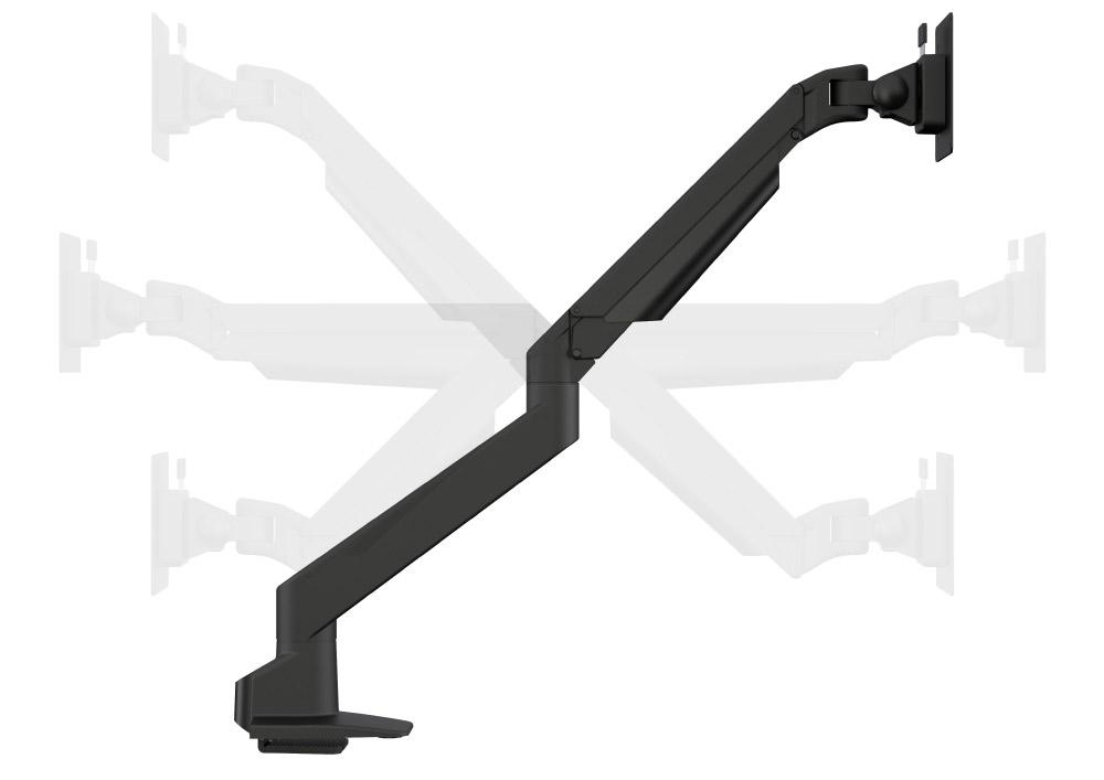 Vue des 6 axes d'inclinaison d'un bras support écran