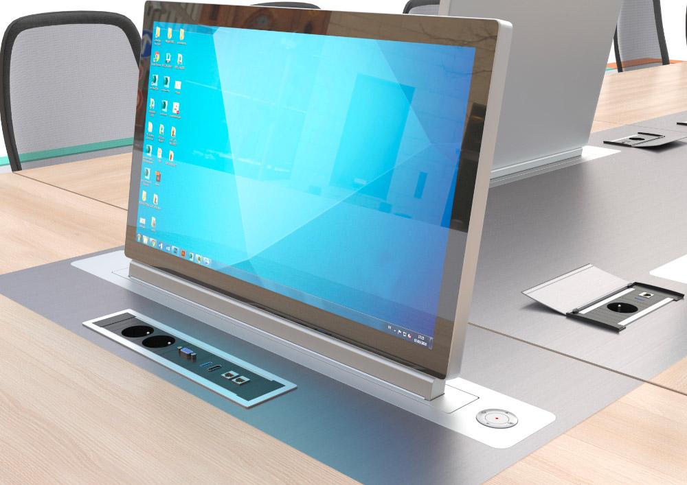 Ecran ratractable motorisé intégré dans une table de réunion