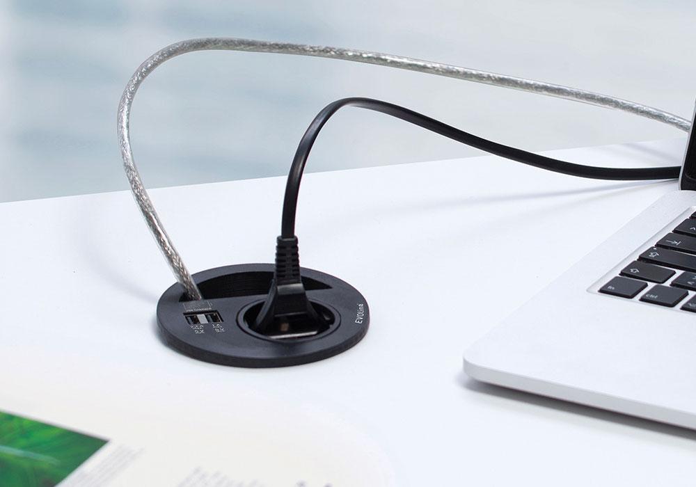 Point de connexion multiple avec passage de câbles