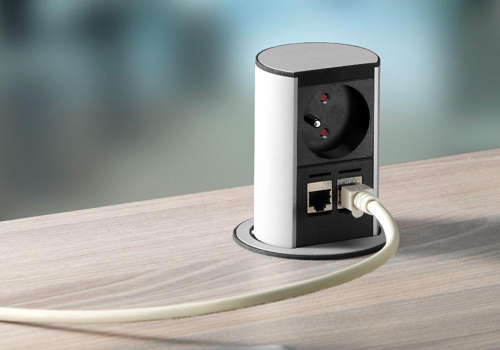 Point de connexion modèle Mini borne de prises escamotable ouvert