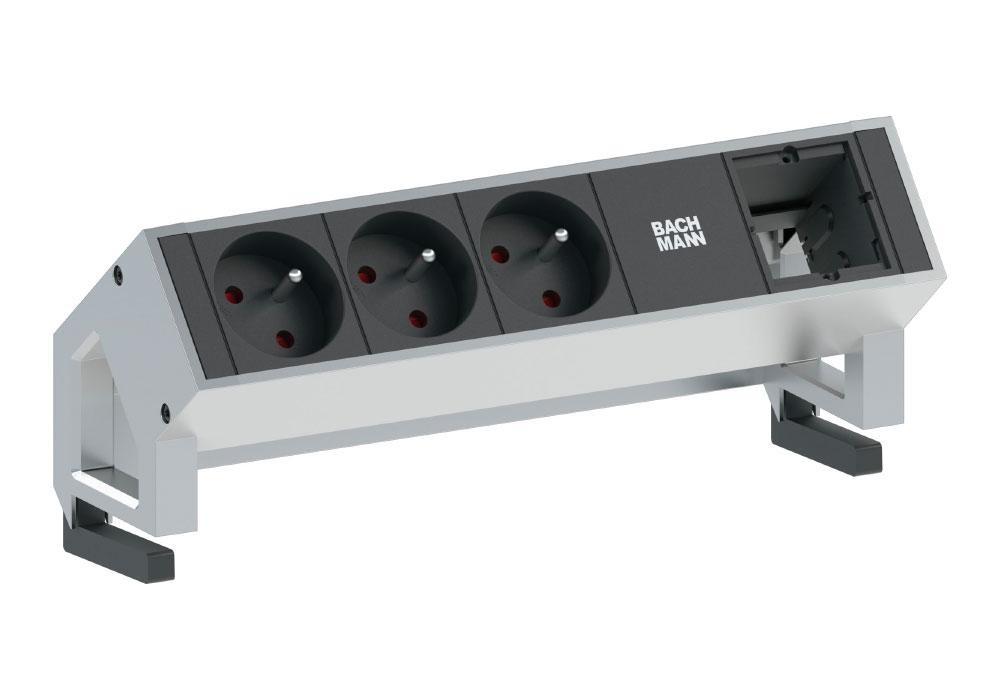 Bandeau multiprise avec modules interchangeable et fixations par pince