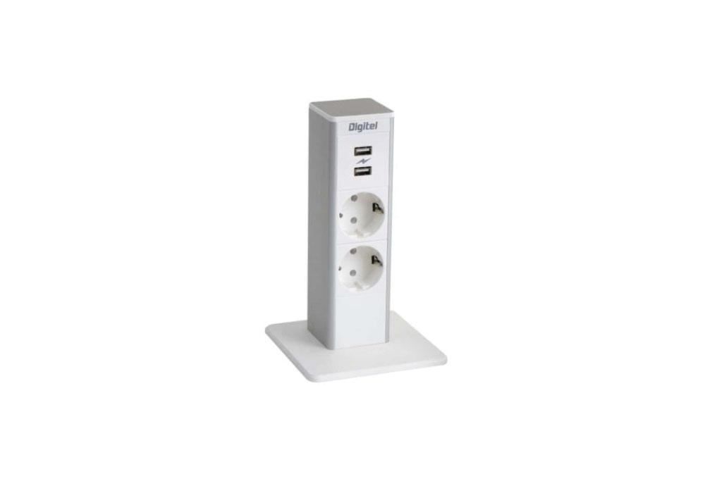 Mini-borne connectique blanche pour bureau