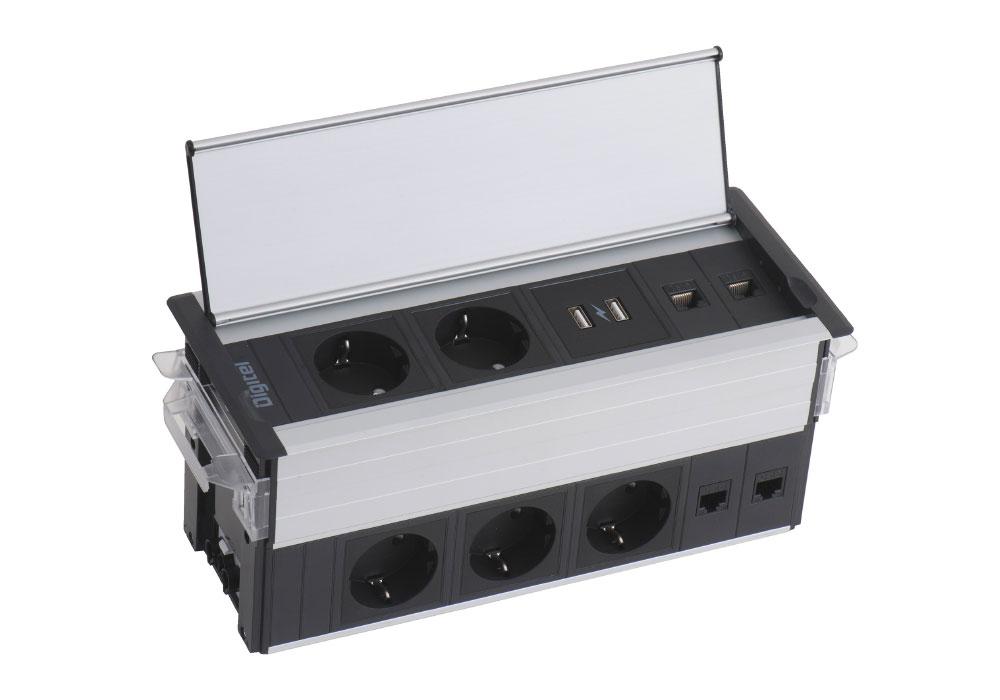 Bandeau multiprise à encastrer avec double bloc de prises