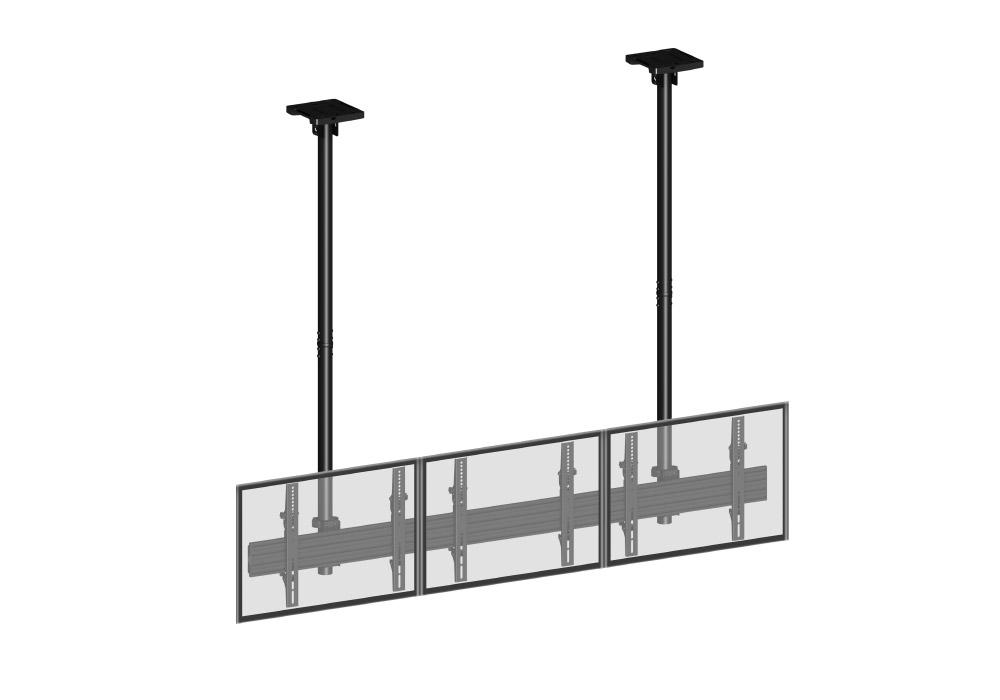 Support plafond pour 3 écrans en ligne