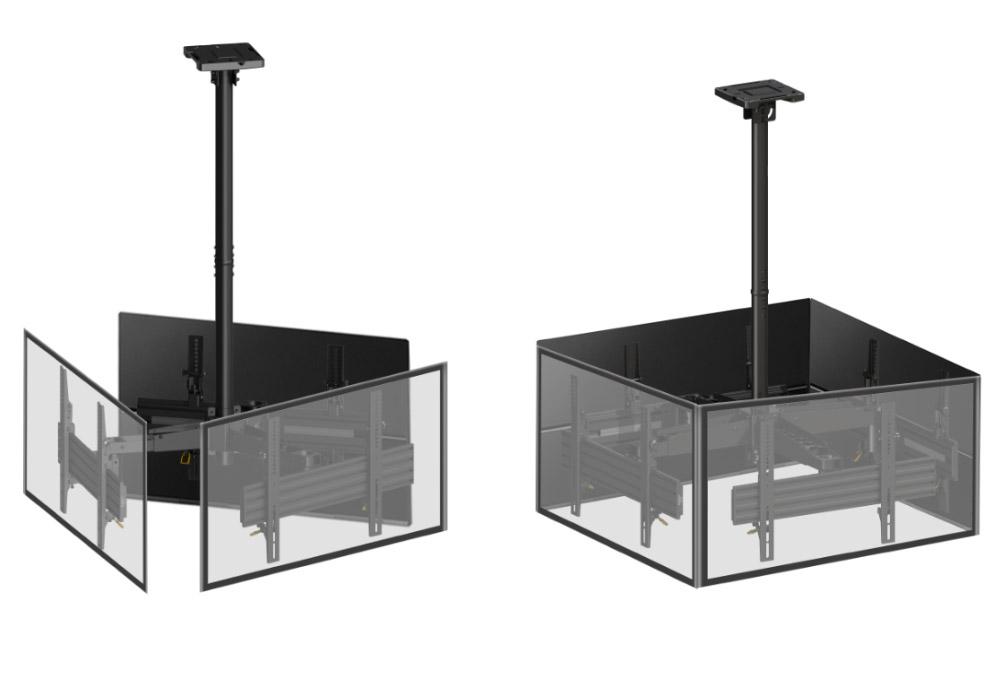 Supports plafond pour écrans sur 3 et 4 faces