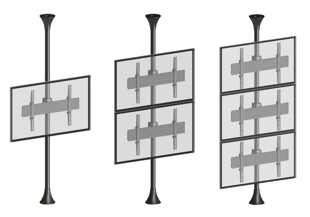 """Supports sol-plafond pour 1, 2 ou 3 écrans de 65"""""""