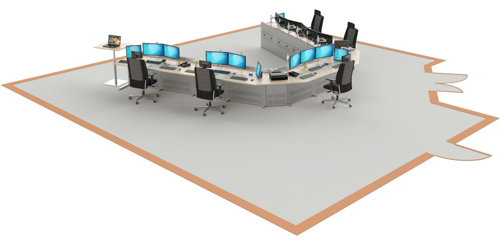 Salle de supervision aménagé avec notre mobilier pour salle de contrôle