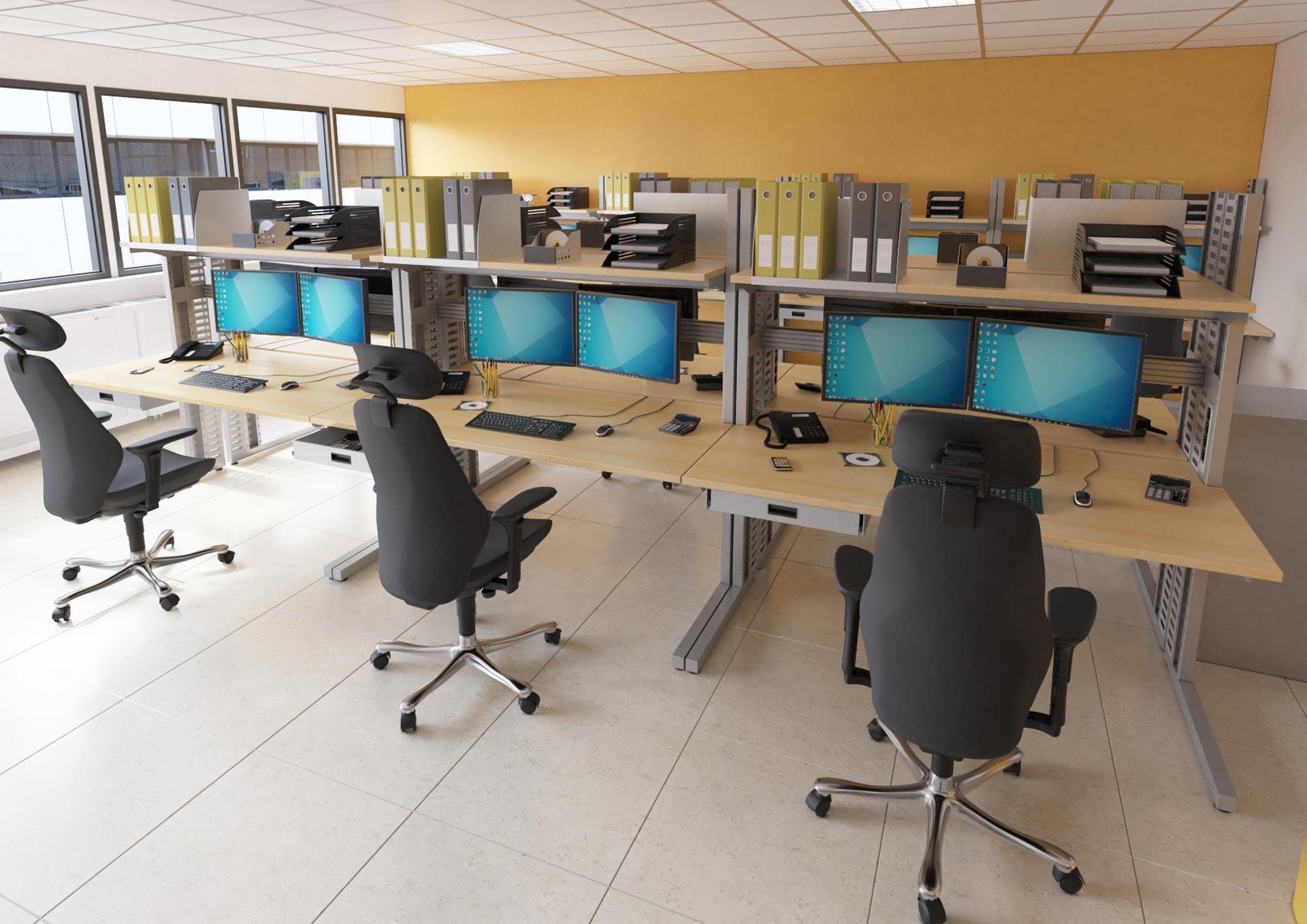 Stations informatiques configurées en bancs d'essaies