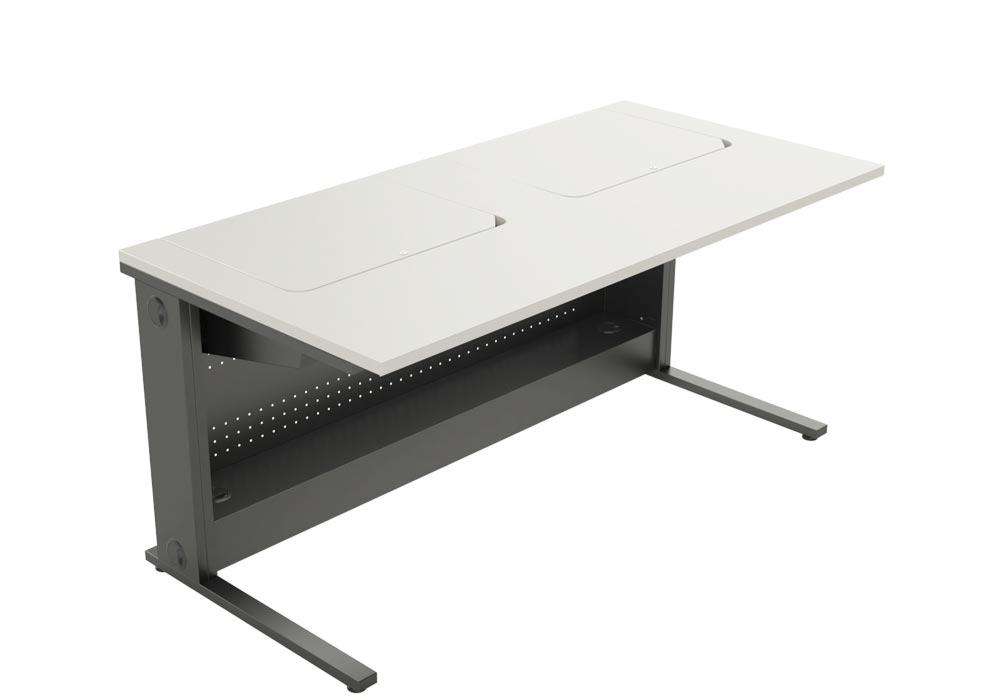 Mobilier scolaire à écrans escamotables pour salles de cours.