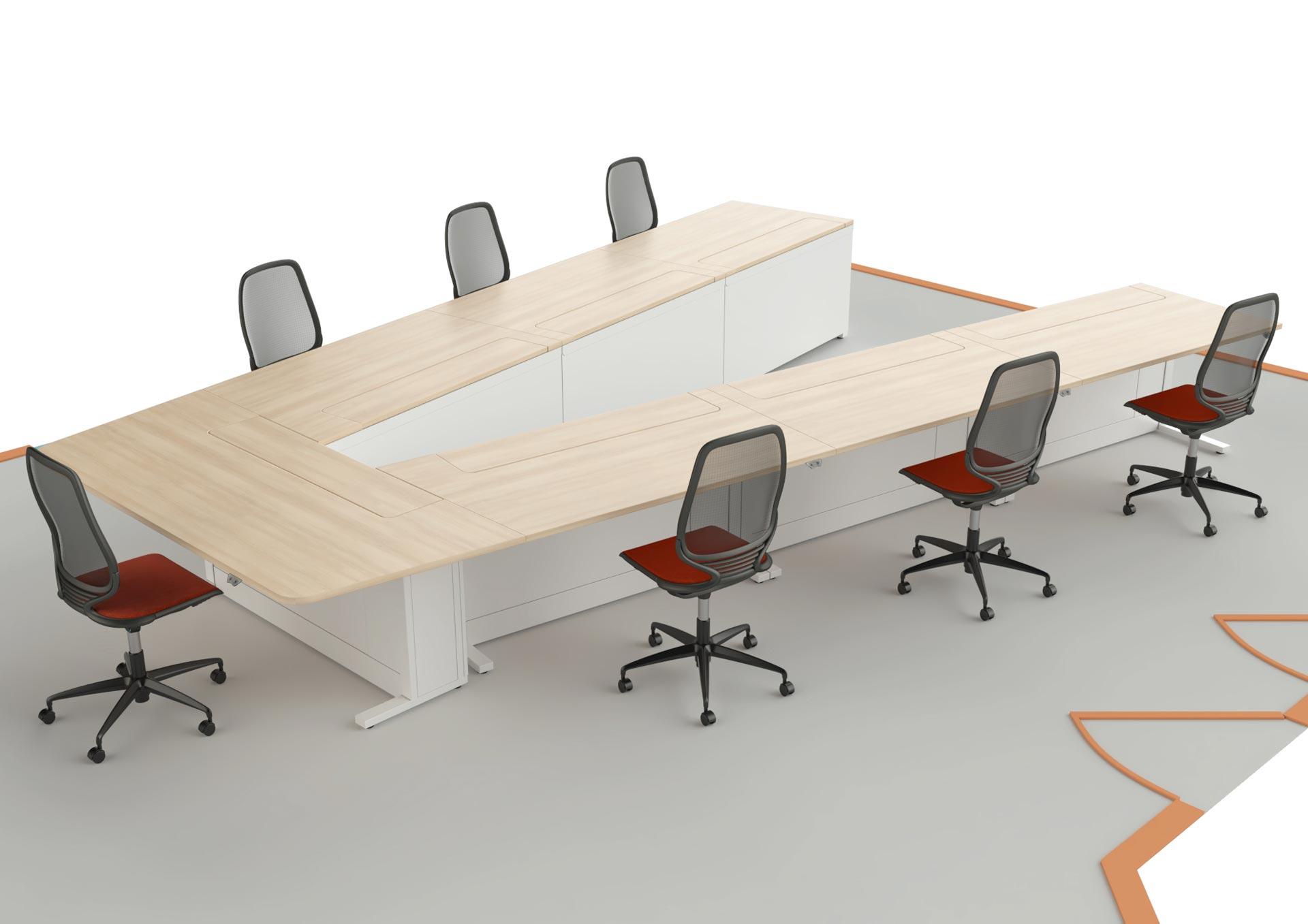 Salle de formation et de réunion avec table en V
