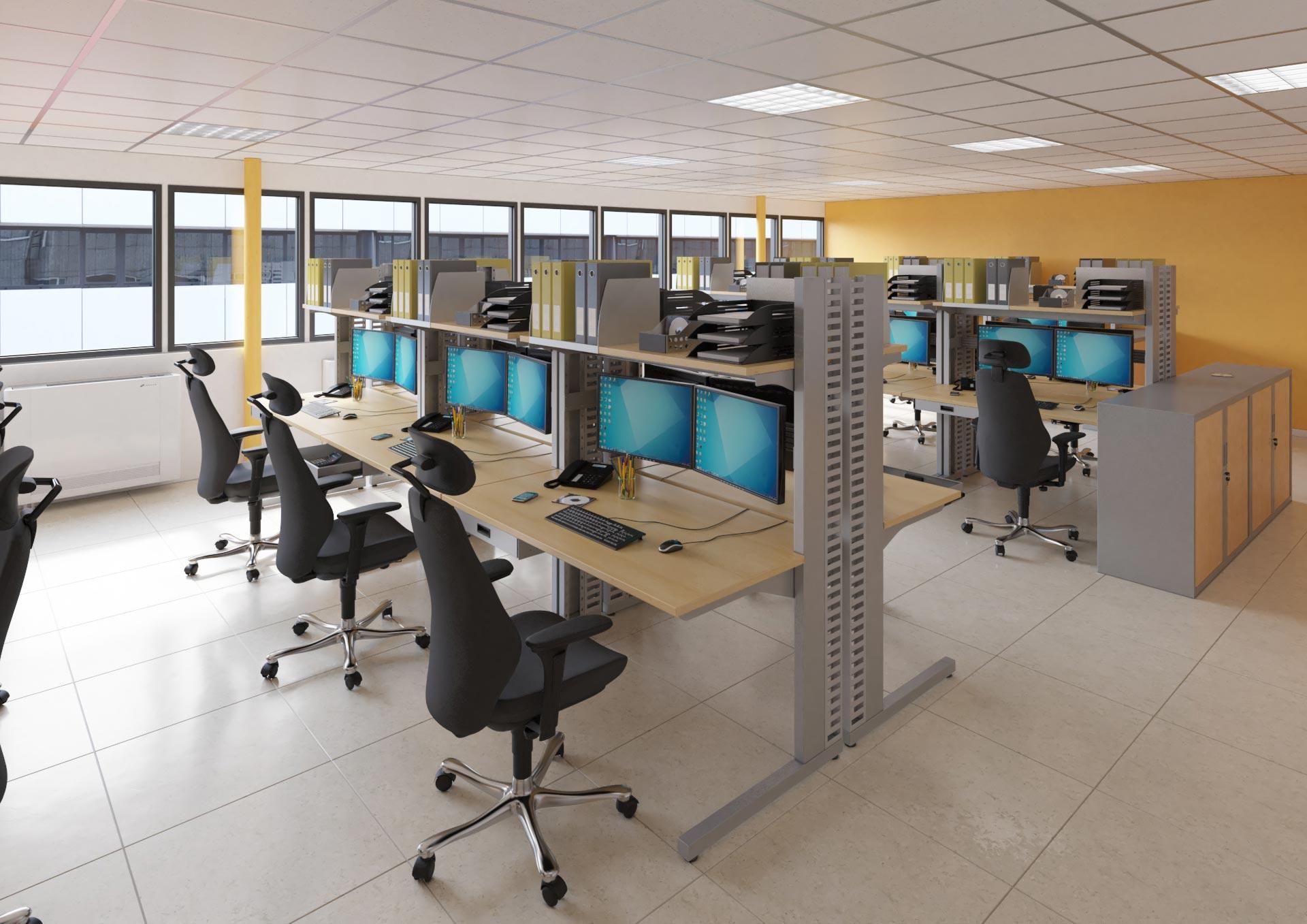 Mobilier pour salles informatiques aménagé en bancs d'essaies