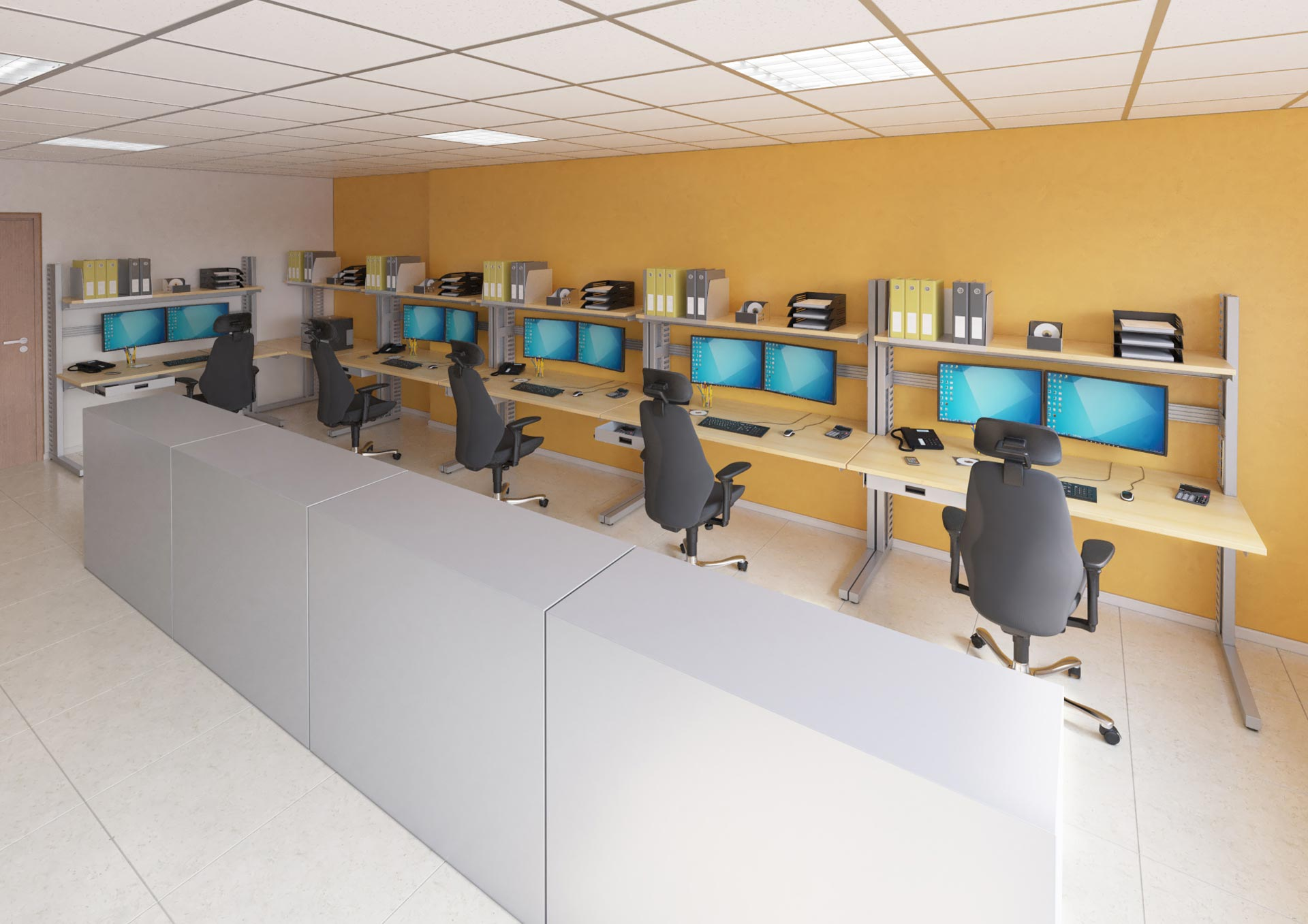 Salle informatique aménagée avec du mobilier technique