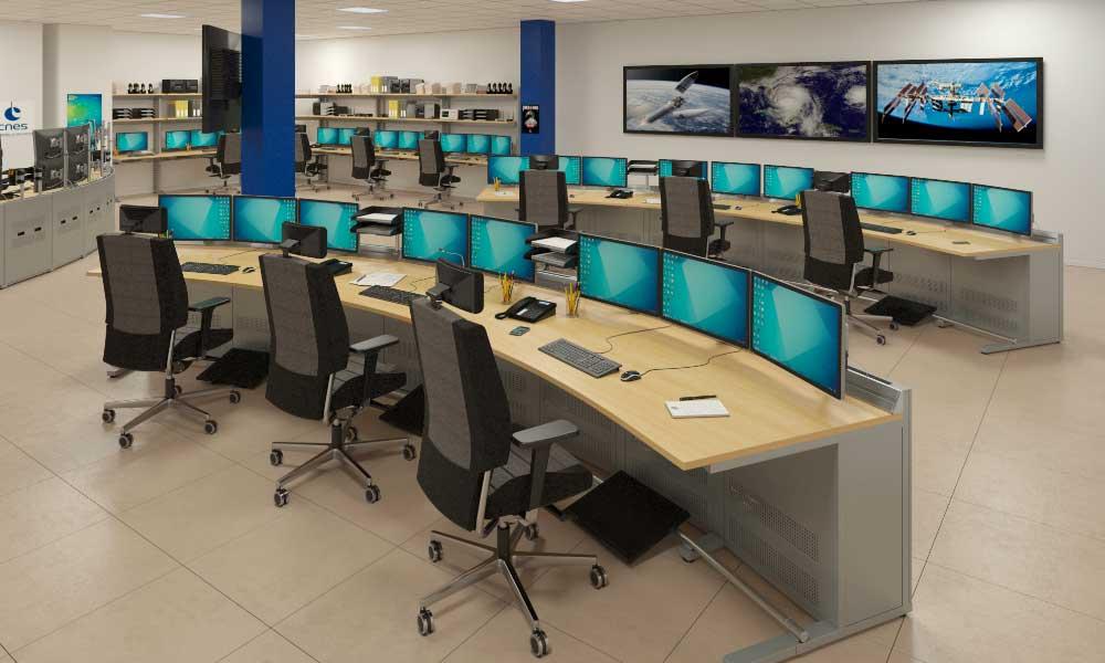 Salle de contrôle en arc de cercle