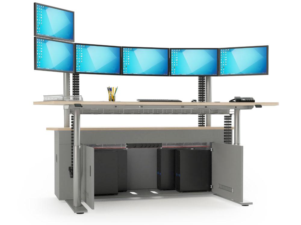 Poste de travail multi-écrans sur-mesure avec caisson technique