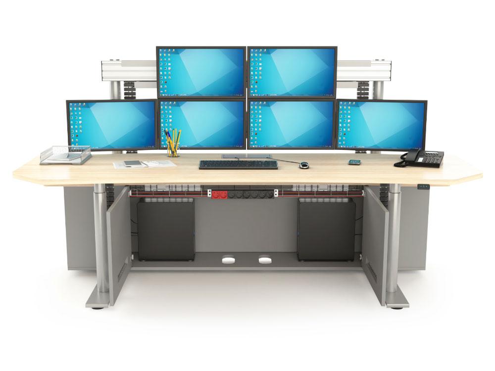 Poste de travail multi-écrans avec caissons techniques