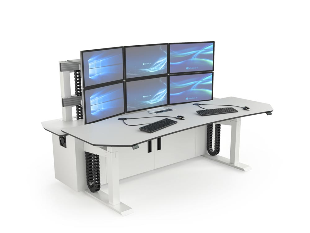 Poste de travail multi-écrans pour salles de contrôle et salles de supervision