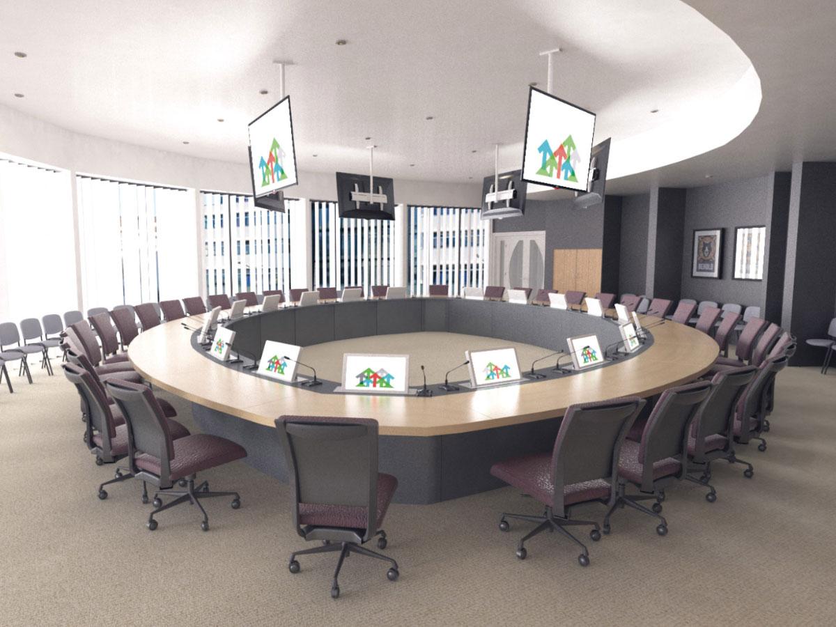 Intégration audiovisuelle pour salles de conférence