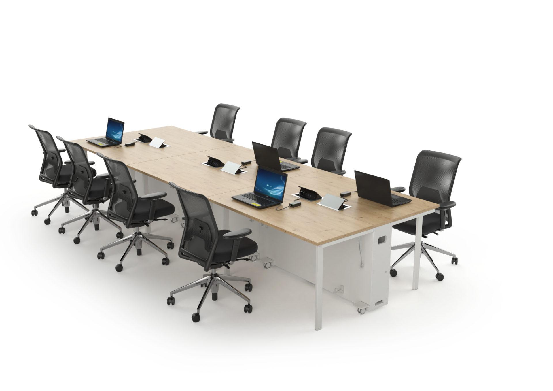 Table de réunion formée à partir de postes de travail mobiles