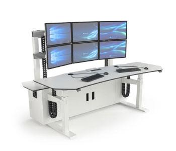 Poste de travail multi-écrans pour salles de supervision