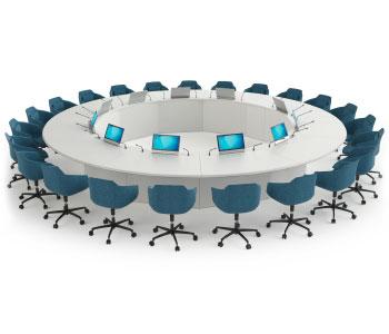Table de réunion multimédia avec écrans et micros rétractables