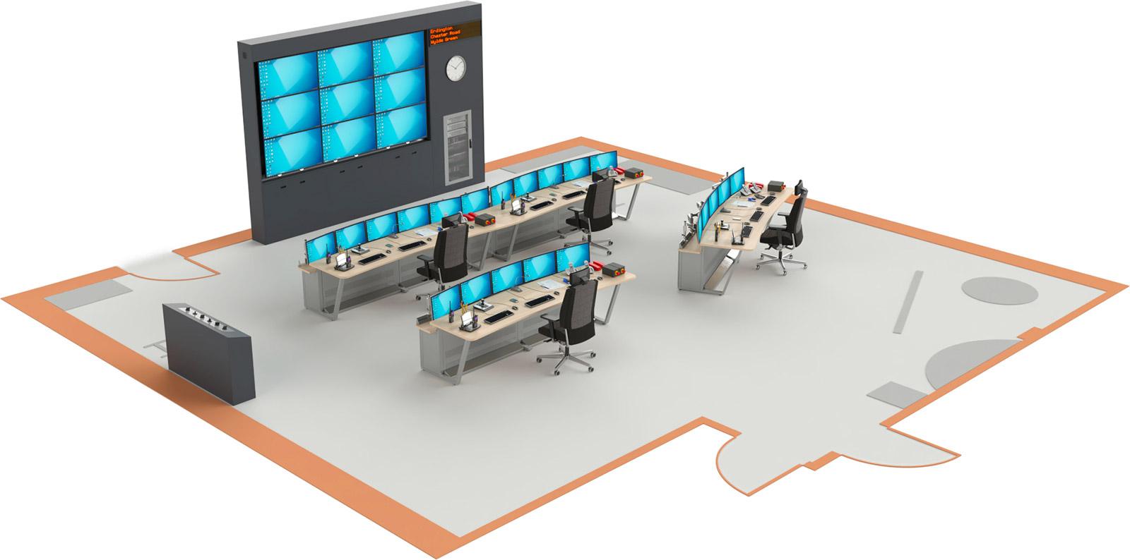 Plan 3D d'une salle de supervision